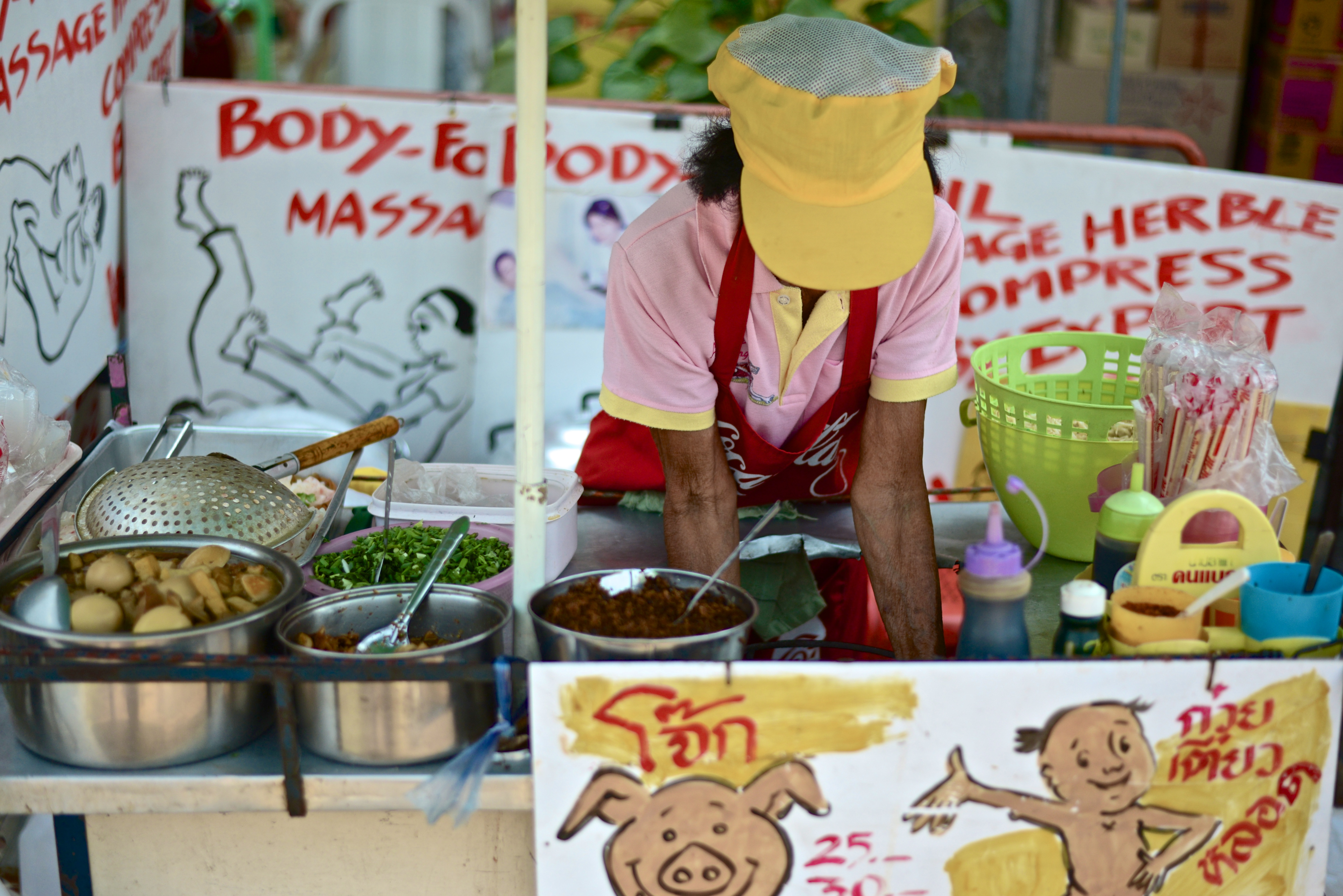 A curious juxtaposition of massage and food.