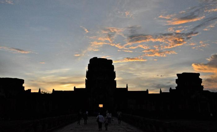 The unmistakeable silhouette of Angkor Wat..