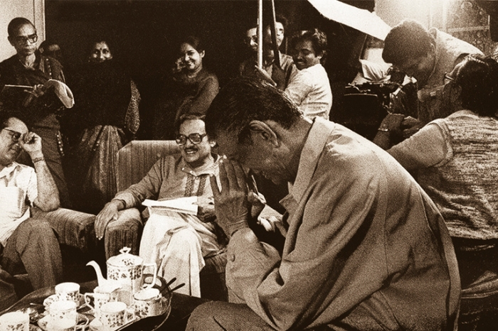 A rare production still of the film.Satyajit Ray is in the foreground.