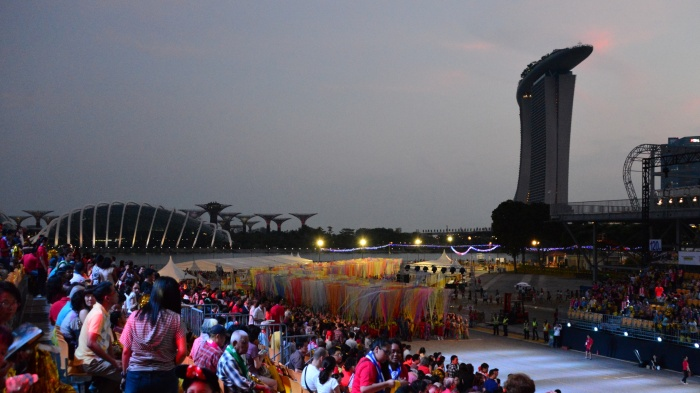 The spectacular backdrop of the Gardens by the Bay and Marina Bay Sands.