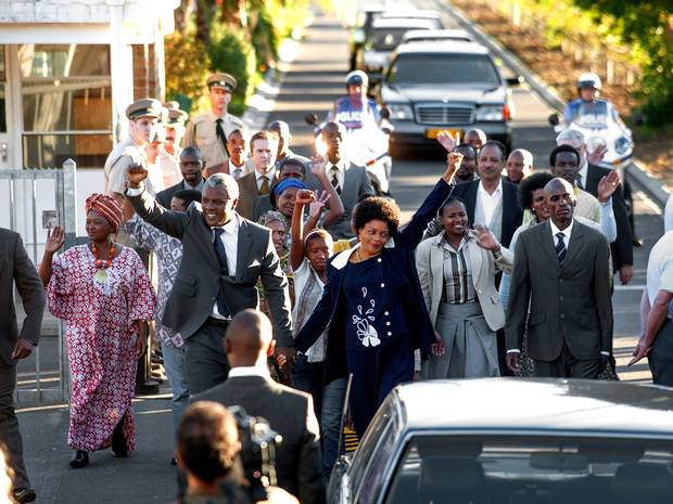 The Long Walk to Freedom ended in a photo-op, again solemnly recreated in this film.